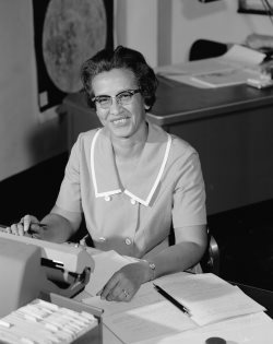 Katherine Johnson working at NASA