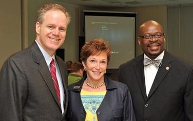 Left to Right State Senator Erik Wells, Chair of the Senate Military Committee, Dr. Carole Garrison Keynote Speaker and Coston Davis Jr. Director of Military Student Services Center