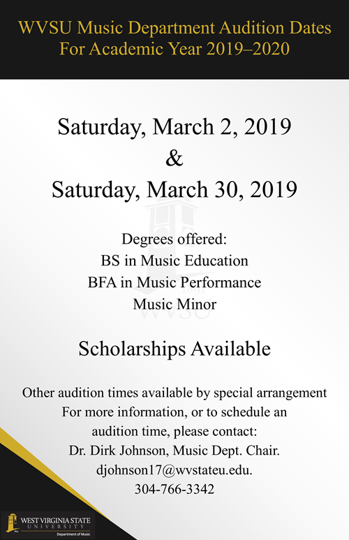WVSU Music Department Audition Dates For Academic Year 2019-2020