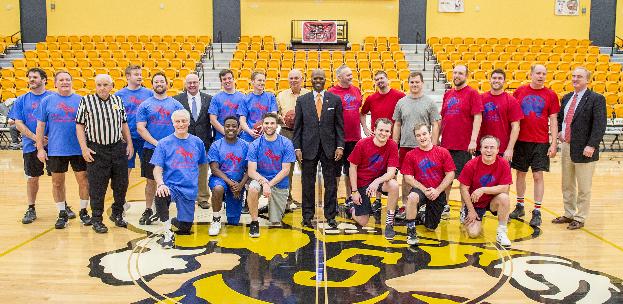 President Jenkins at legislative basketball game