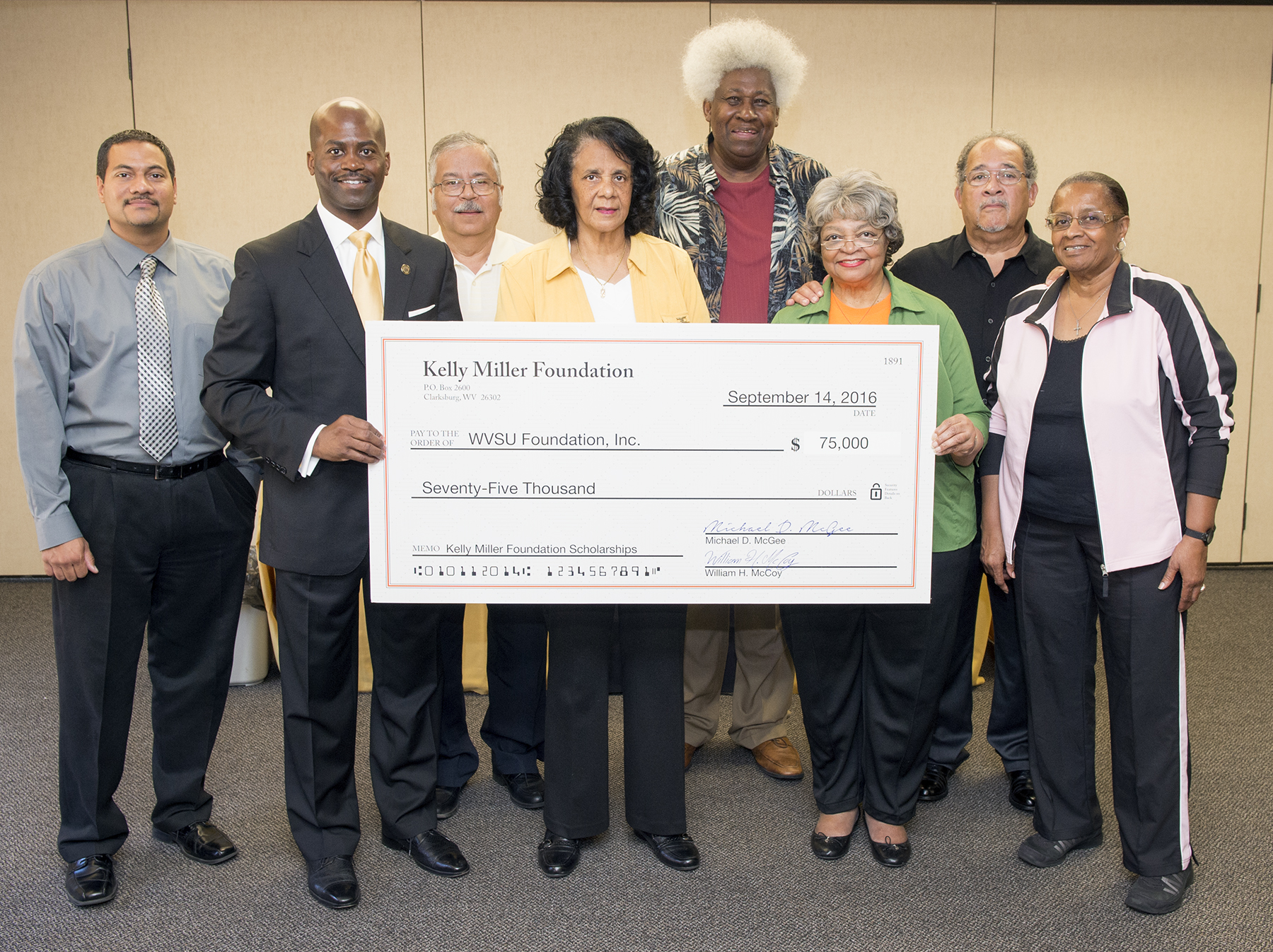 Kelly Miller Foundation Presents Scholarship Funds to WVSU President Jenkins