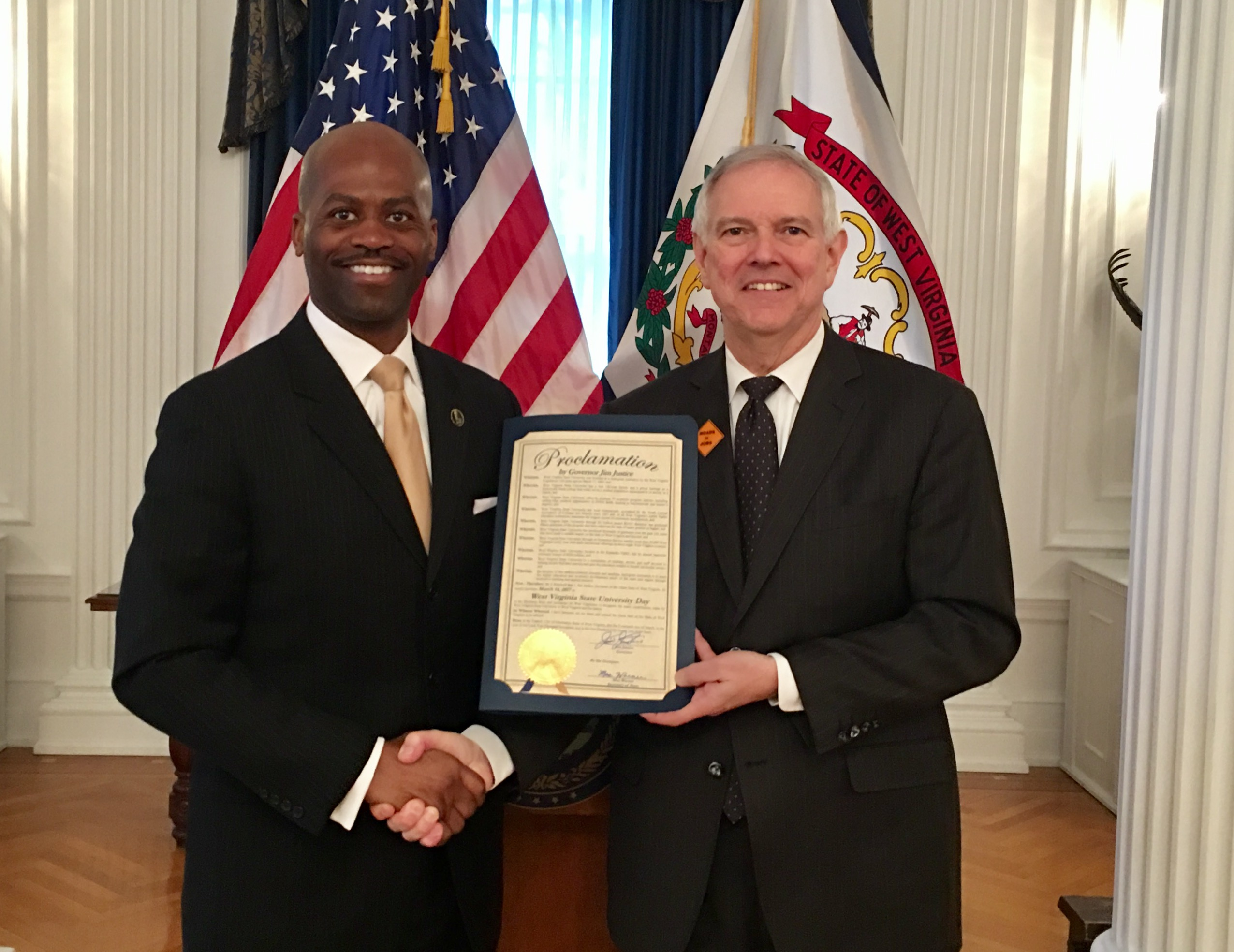 Governors Office Presents Proclamation Declaring WVSU Day