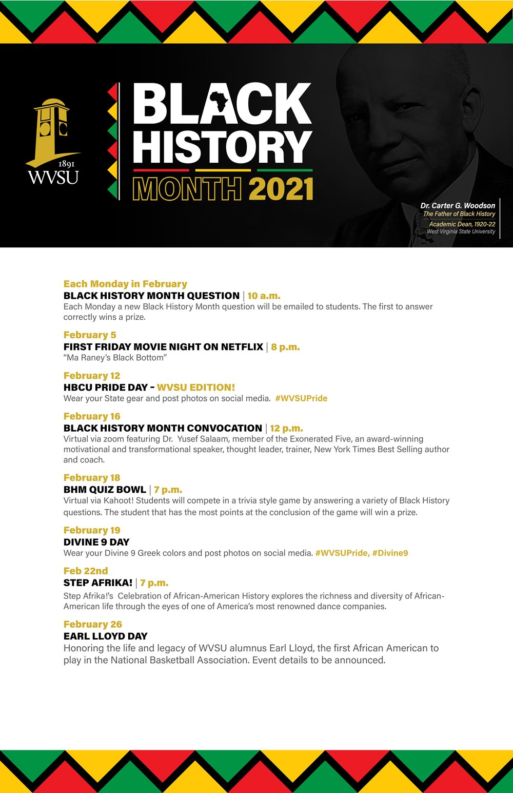 Black History Month 2021 Calendar of Events